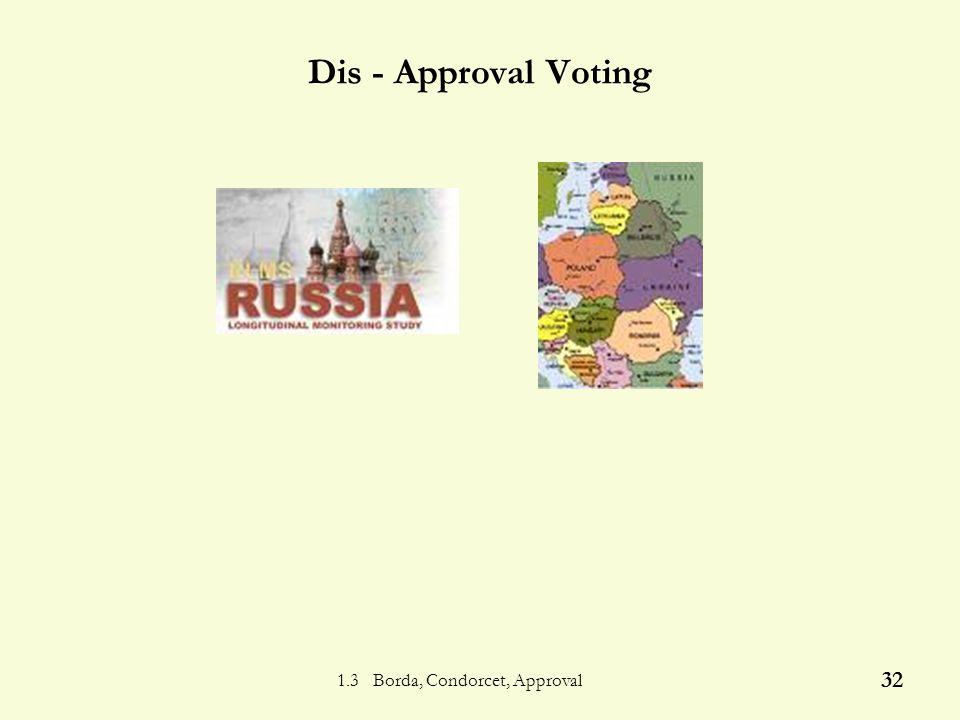 1.3 Borda, Condorcet, Approval 31 Approval - Disadvantage