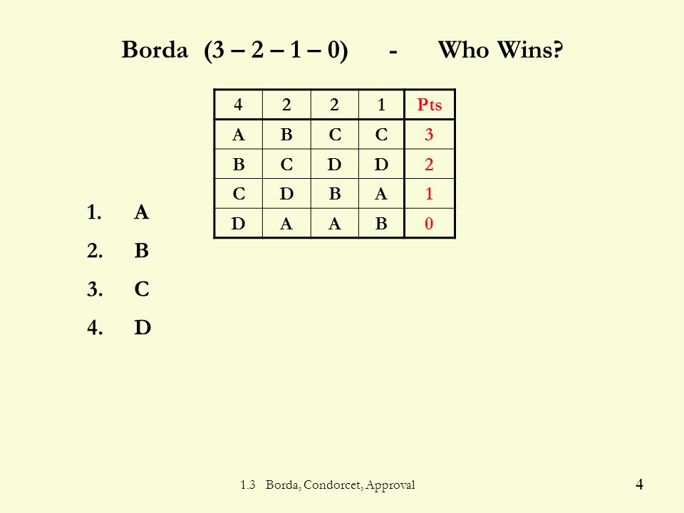 1.3 Borda, Condorcet, Approval 3 Borda Count Algorithm Each is assigned a.