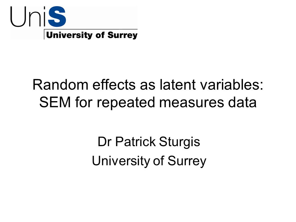Overview Random effects (multi-level) models for repeated measures data.