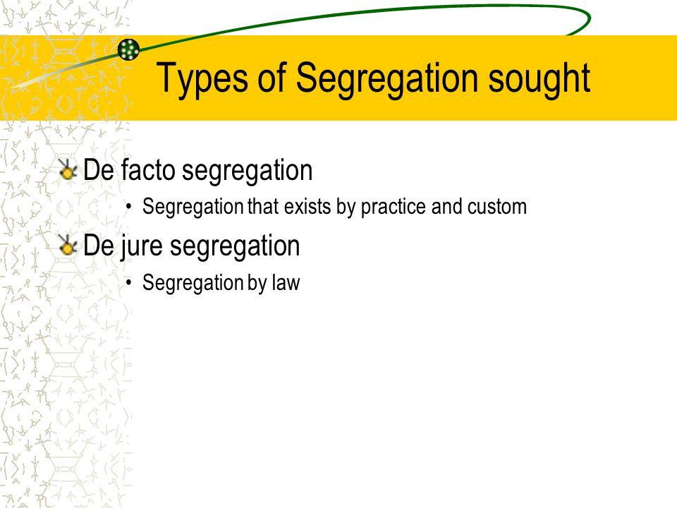 Types of Segregation sought De facto segregation Segregation that exists by practice and custom De jure segregation Segregation by law