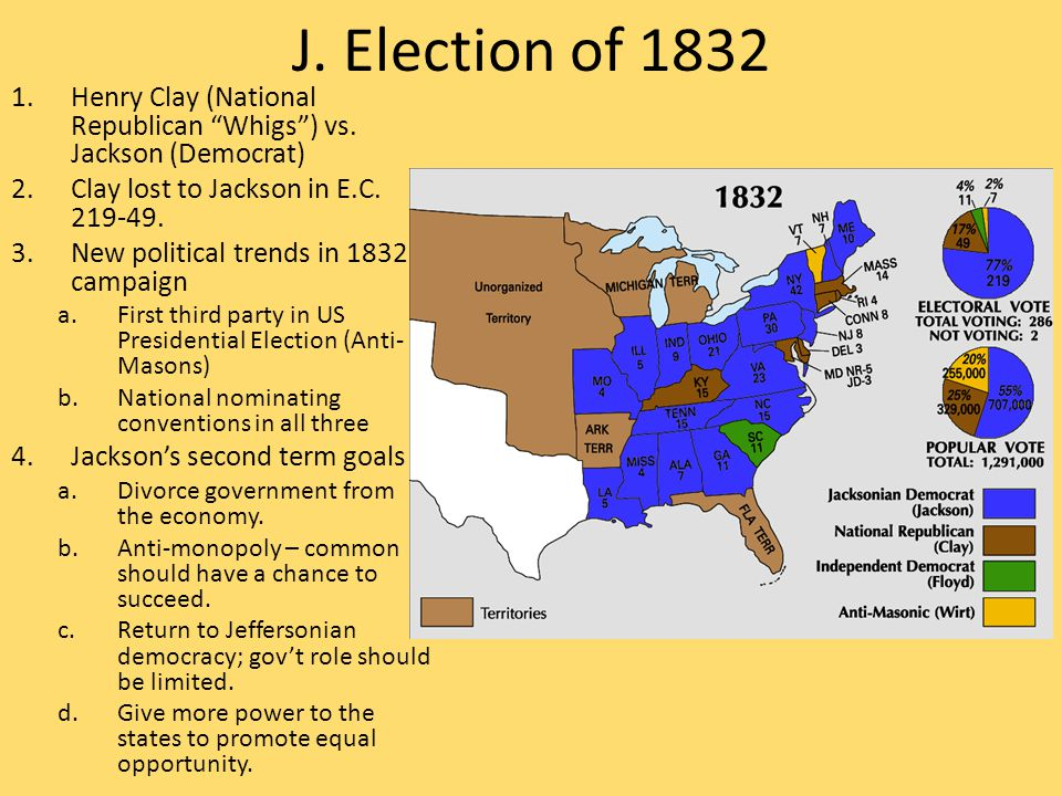 """J. Election of 1832 1.Henry Clay (National Republican """"Whigs"""") vs. Jackson (Democrat) 2.Clay lost to Jackson in E.C. 219-49. 3.New political trends in"""