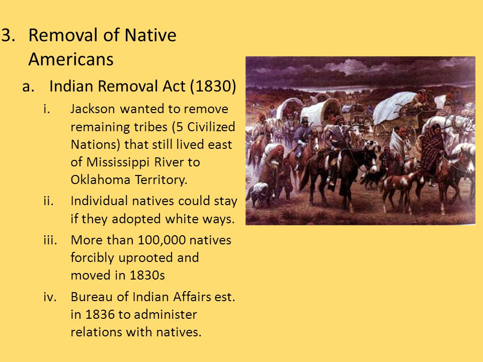 3.Removal of Native Americans a.Indian Removal Act (1830) i.Jackson wanted to remove remaining tribes (5 Civilized Nations) that still lived east of Mississippi River to Oklahoma Territory.
