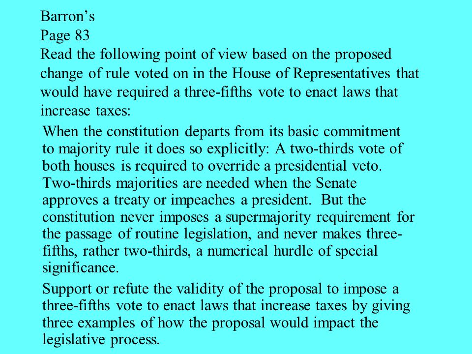Barron's Page 83 Read the following point of view based on the proposed change of rule voted on in the House of Representatives that would have requir