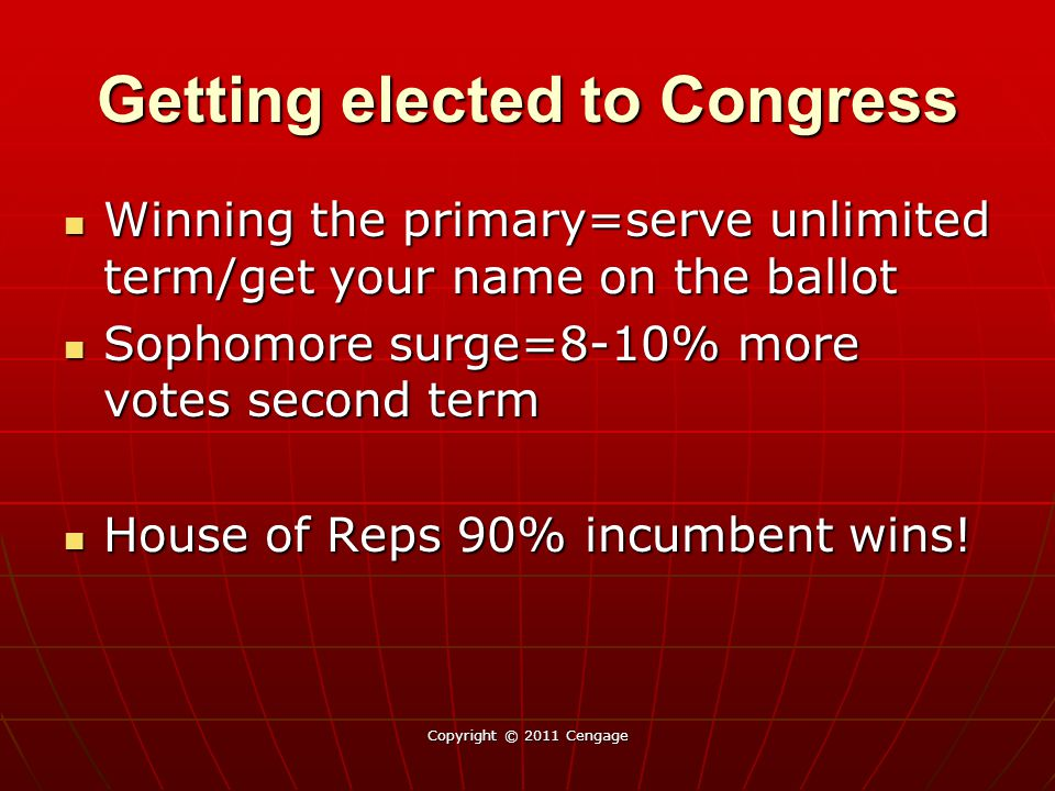 Getting elected to Congress Winning the primary=serve unlimited term/get your name on the ballot Winning the primary=serve unlimited term/get your nam