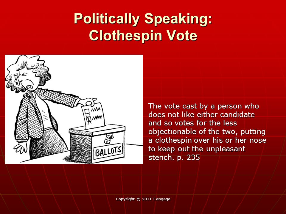Politically Speaking: Clothespin Vote The vote cast by a person who does not like either candidate and so votes for the less objectionable of the two,