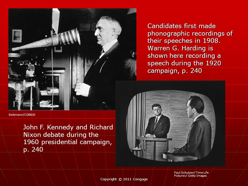 Candidates first made phonographic recordings of their speeches in 1908. Warren G. Harding is shown here recording a speech during the 1920 campaign,