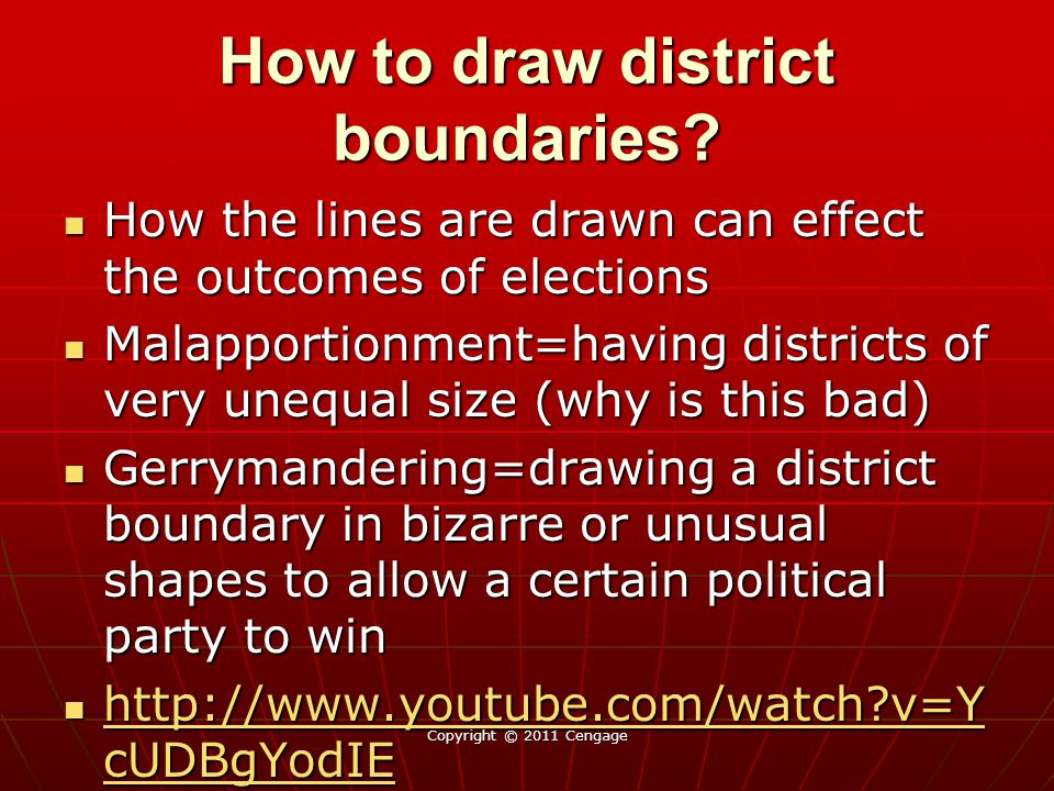 How to draw district boundaries? How the lines are drawn can effect the outcomes of elections How the lines are drawn can effect the outcomes of elect
