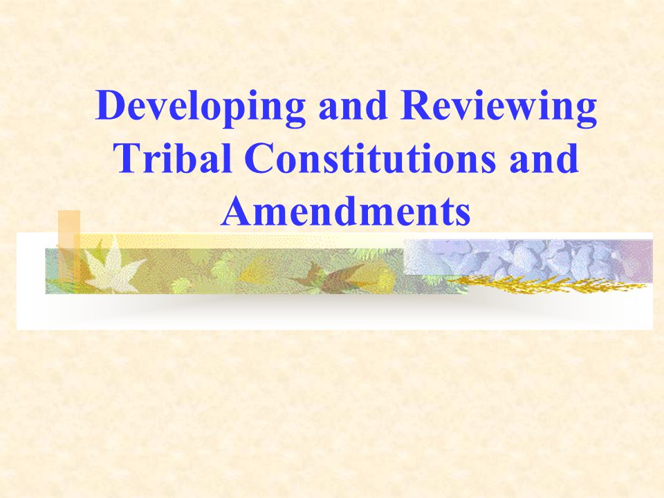 Developing and Reviewing Tribal Constitutions and Amendments