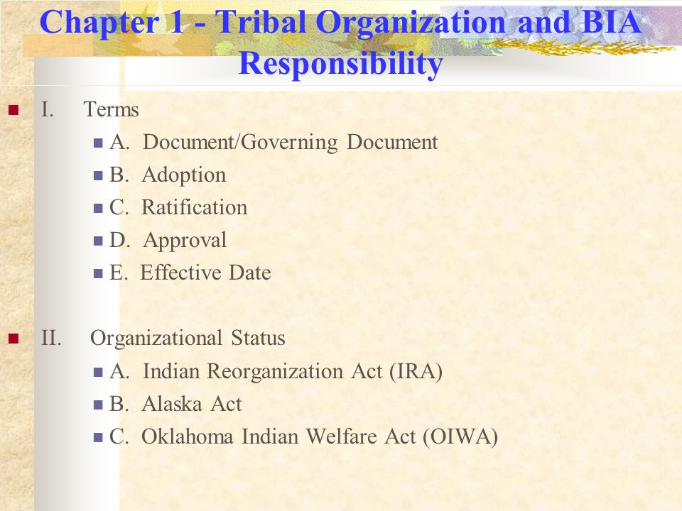 Chapter 1 continued…..III. BIA Responsibilities A.