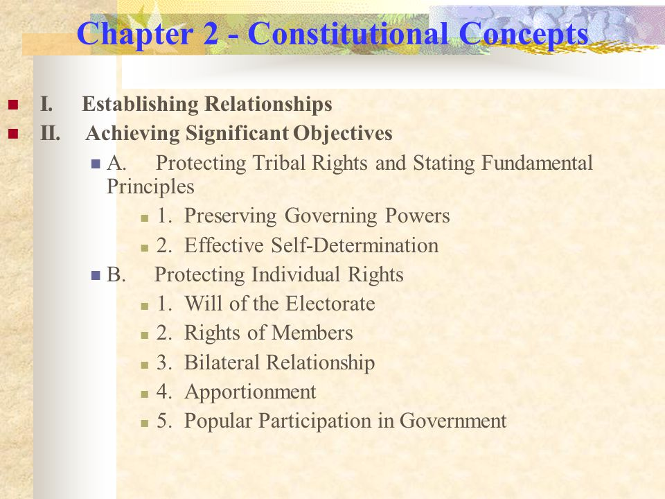Chapter 2 - Constitutional Concepts I. Establishing Relationships II.