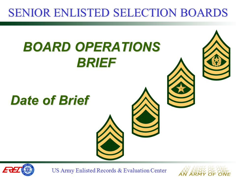 US Army Enlisted Records & Evaluation Center PANEL TRAINING  Develop panel standards Performance, potential, assignments Military/Civilian education Height, weight & APFT Commendatory and disciplinary CMF/MOS specifics  Practice vote and refine standards  Obtain Board President's approval Ensure Consistency !!.