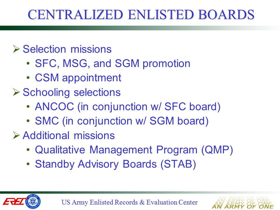 US Army Enlisted Records & Evaluation Center CHAIN OF COMMAND'S ROLE  Assign NCOs in PMOS  Counsel/Mentor for Success - conduct routine counseling to standard  Recognize Successful Performance - track performance counseling - include on the report  Reinforce that Performance in any Grade/Position; key to your promotion  Educate junior officers, NCOs, and civilian raters on how to effectively use the NCO-ER and counseling forms