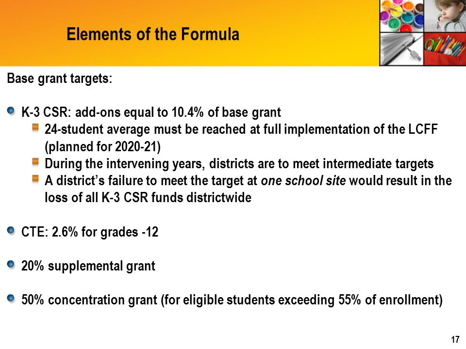 Elements of the Formula Base grant targets: K-3 CSR: add-ons equal to 10.4% of base grant 24-student average must be reached at full implementation of the LCFF (planned for 2020-21) During the intervening years, districts are to meet intermediate targets A district's failure to meet the target at one school site would result in the loss of all K-3 CSR funds districtwide CTE: 2.6% for grades -12 20% supplemental grant 50% concentration grant (for eligible students exceeding 55% of enrollment) 17