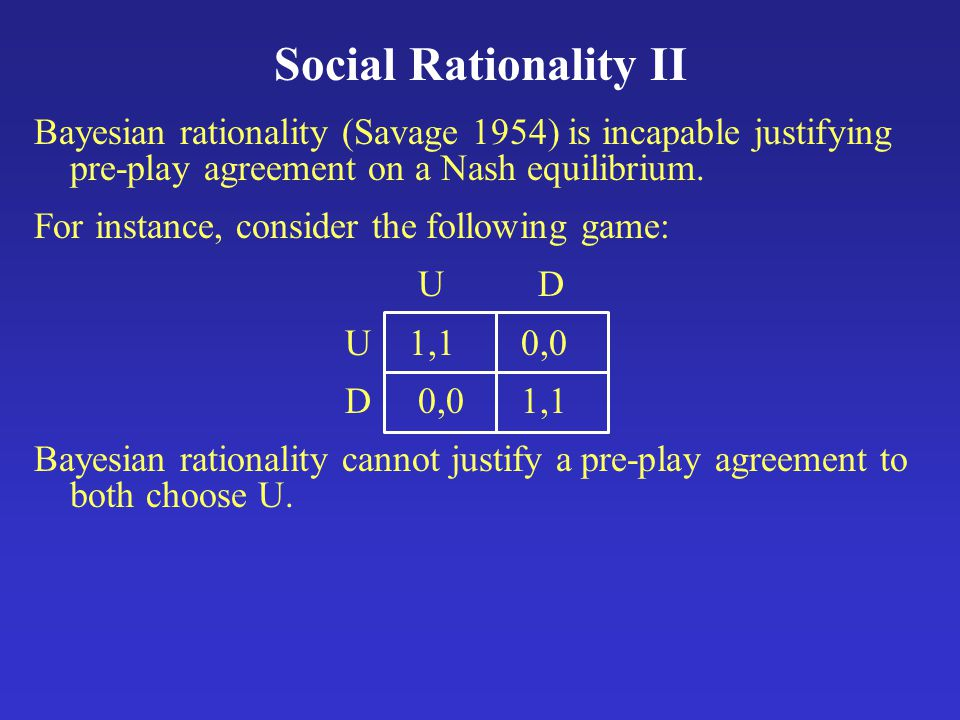Social Rationality II Bayesian rationality (Savage 1954) is incapable justifying pre-play agreement on a Nash equilibrium.