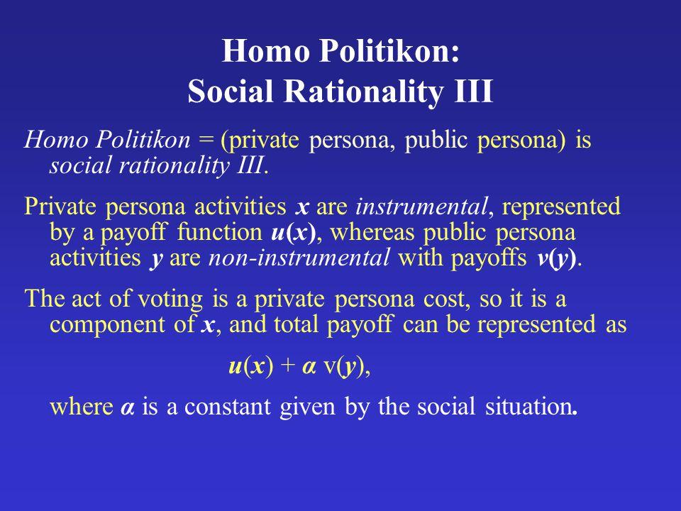 Homo Politikon: Social Rationality III Homo Politikon = (private persona, public persona) is social rationality III.