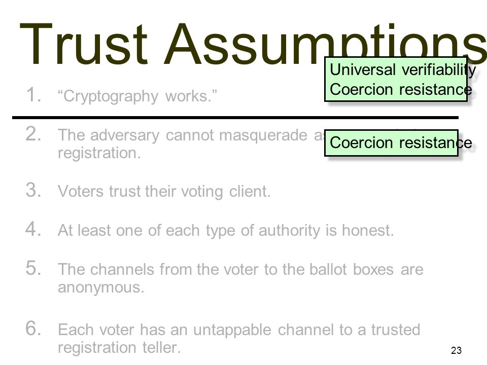 23 Trust Assumptions 1. Cryptography works. 2.