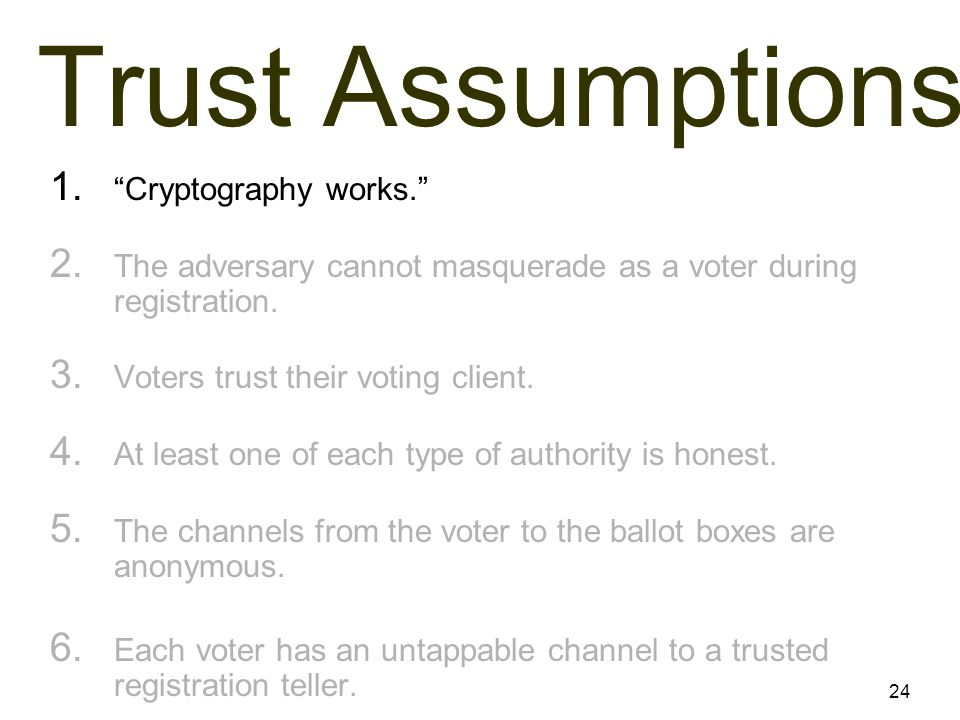24 Trust Assumptions 1. Cryptography works. 2.