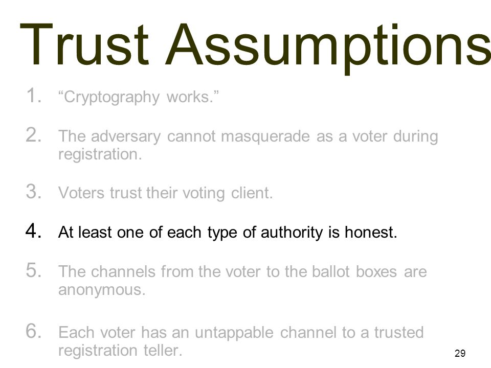 29 Trust Assumptions 1. Cryptography works. 2.
