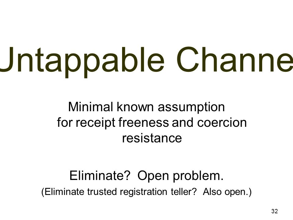 Untappable Channel 32 Minimal known assumption for receipt freeness and coercion resistance Eliminate.
