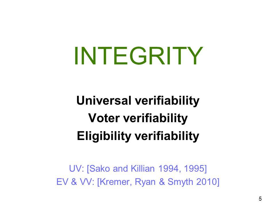 INTEGRITY 5 Universal verifiability Voter verifiability Eligibility verifiability UV: [Sako and Killian 1994, 1995] EV & VV: [Kremer, Ryan & Smyth 201