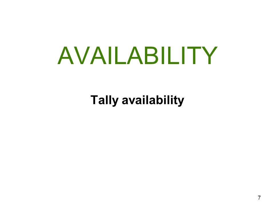 AVAILABILITY 7 Tally availability