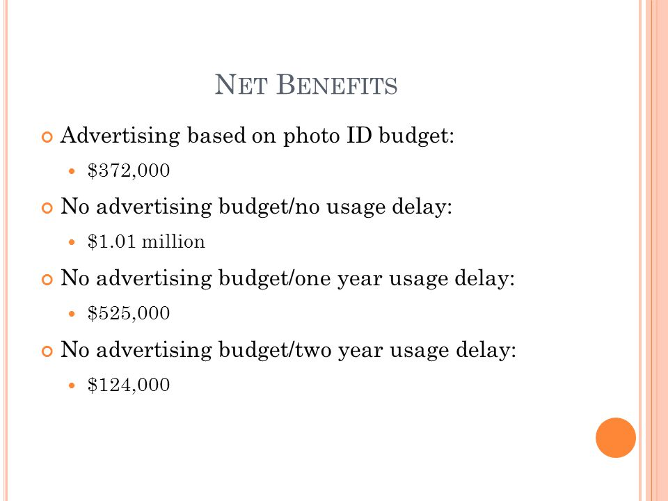 N ET B ENEFITS Advertising based on photo ID budget: $372,000 No advertising budget/no usage delay: $1.01 million No advertising budget/one year usage delay: $525,000 No advertising budget/two year usage delay: $124,000