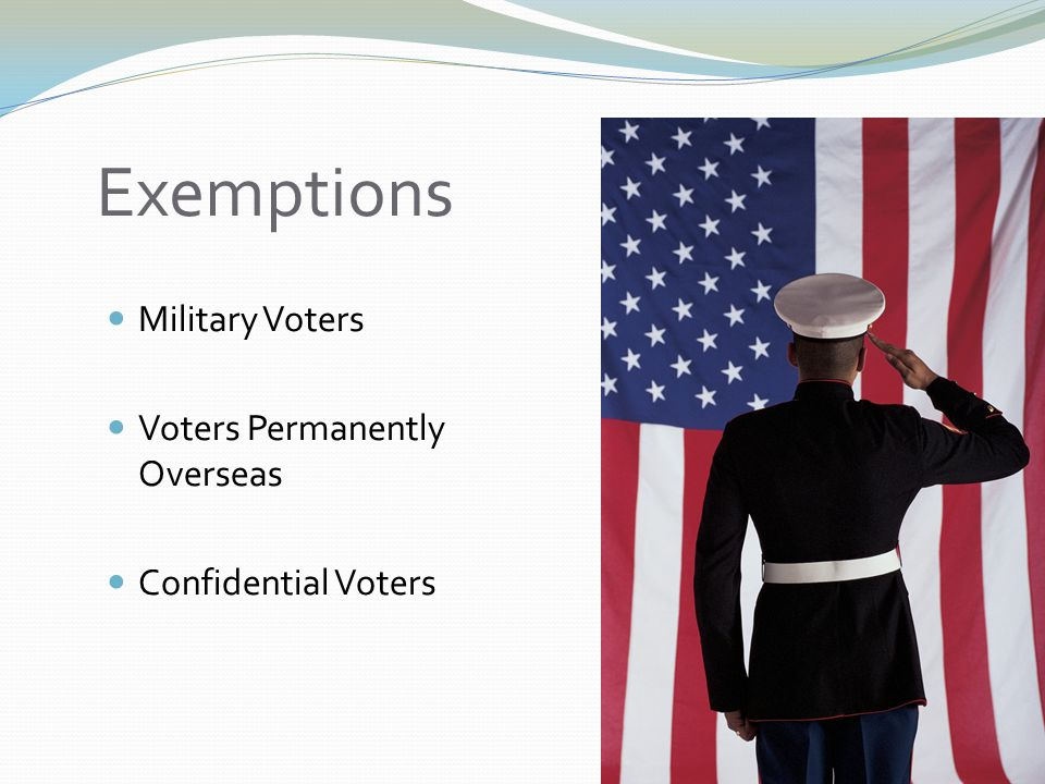 Exemptions Military Voters Voters Permanently Overseas Confidential Voters