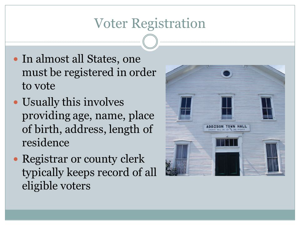 Voter Registration In almost all States, one must be registered in order to vote Usually this involves providing age, name, place of birth, address, l