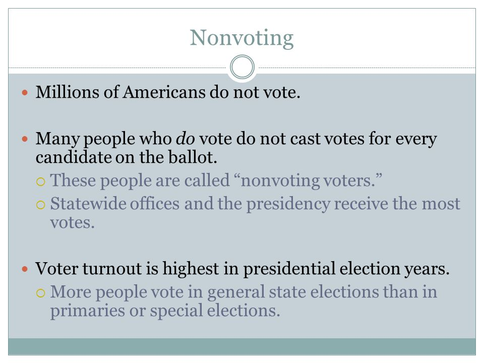 """Nonvoting Millions of Americans do not vote. Many people who do vote do not cast votes for every candidate on the ballot.  These people are called """"n"""