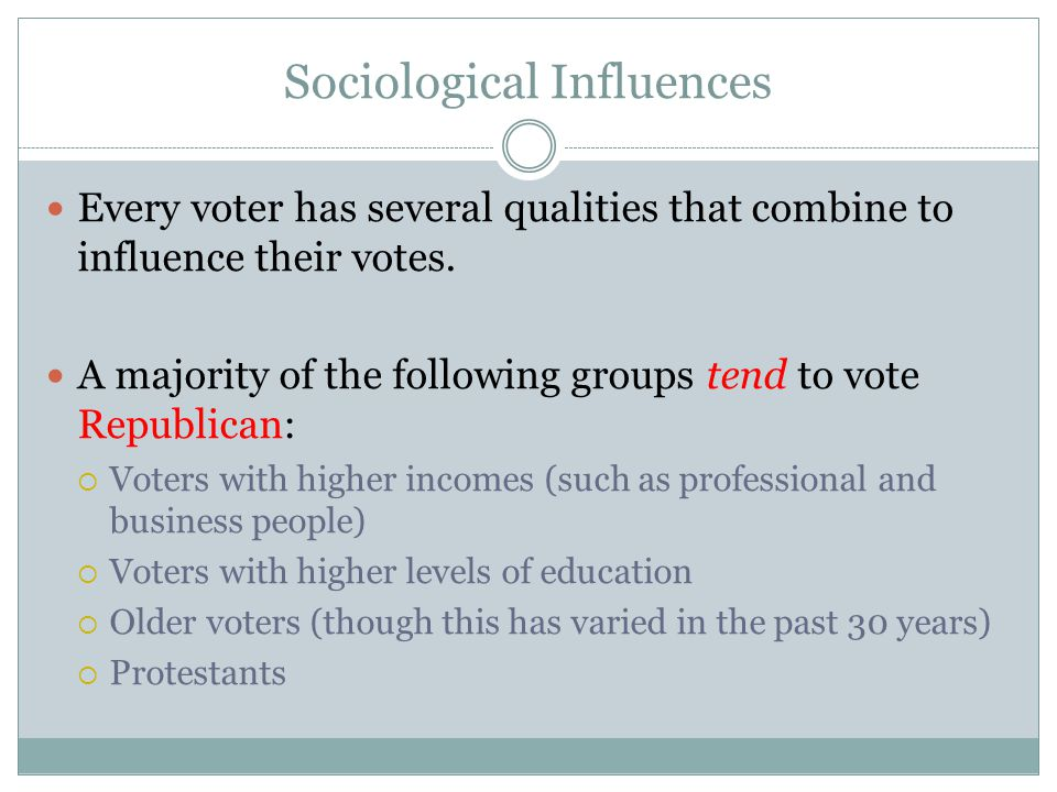 Sociological Influences Every voter has several qualities that combine to influence their votes. A majority of the following groups tend to vote Repub