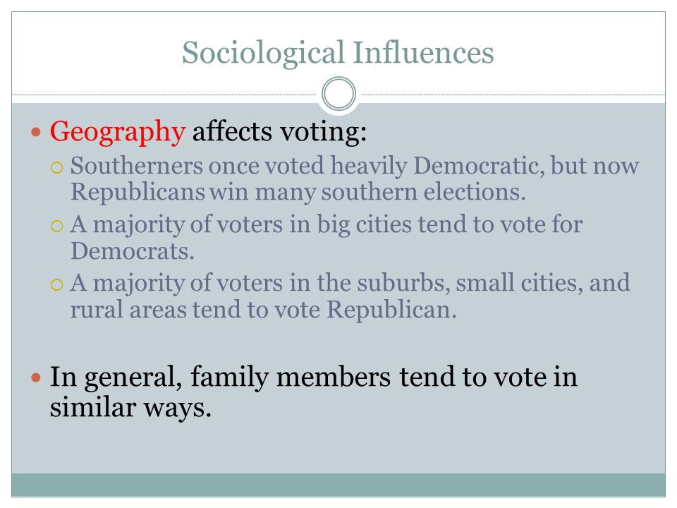 Sociological Influences Geography affects voting:  Southerners once voted heavily Democratic, but now Republicans win many southern elections.  A ma