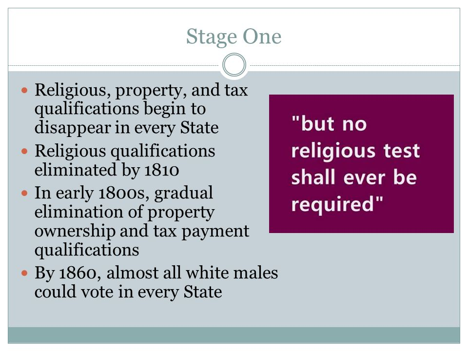 Stage One Religious, property, and tax qualifications begin to disappear in every State Religious qualifications eliminated by 1810 In early 1800s, gr
