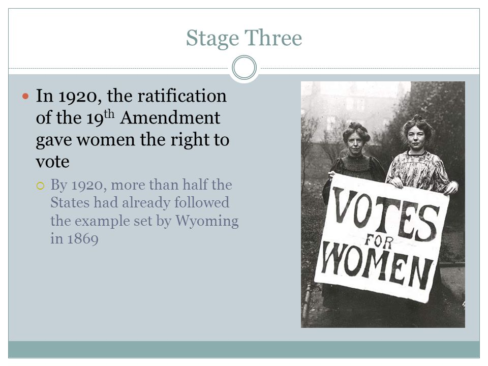 Stage Three In 1920, the ratification of the 19 th Amendment gave women the right to vote  By 1920, more than half the States had already followed th