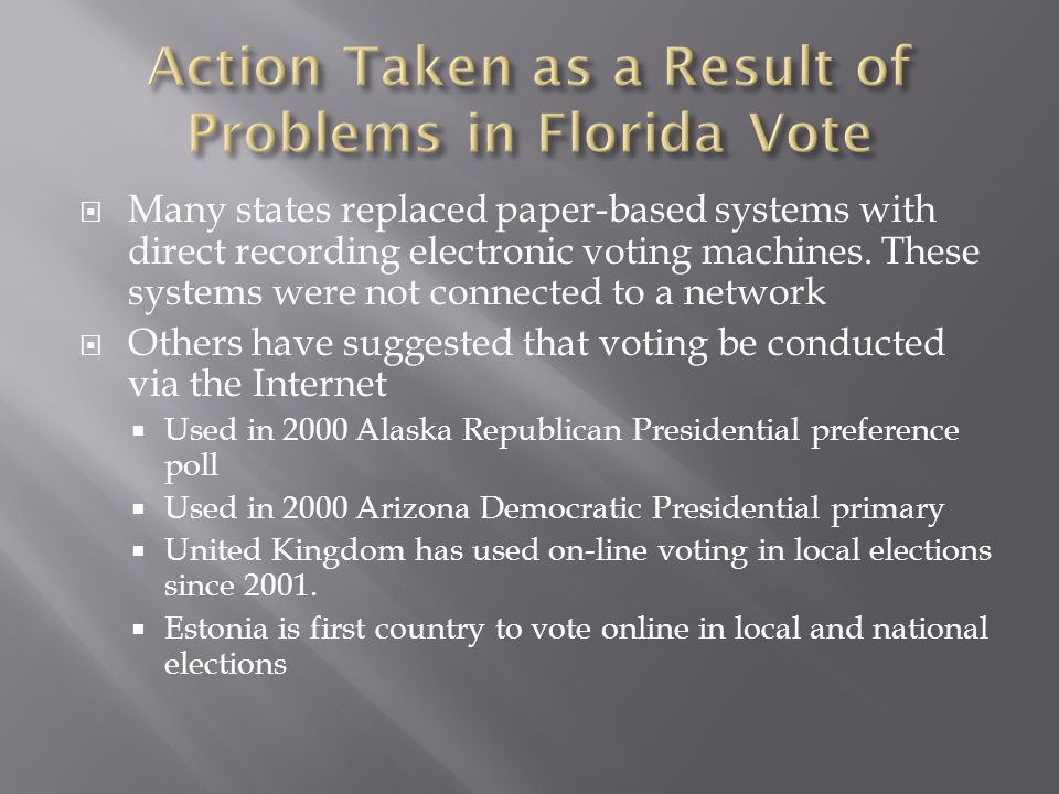  Many states replaced paper-based systems with direct recording electronic voting machines.