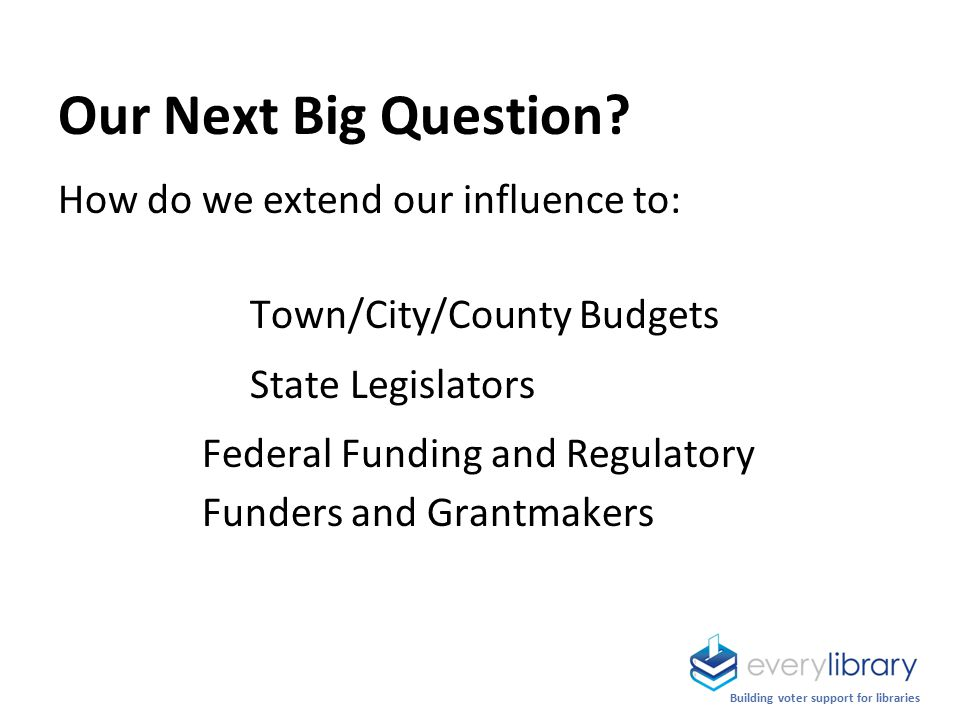 Building voter support for libraries Our Next Big Question.