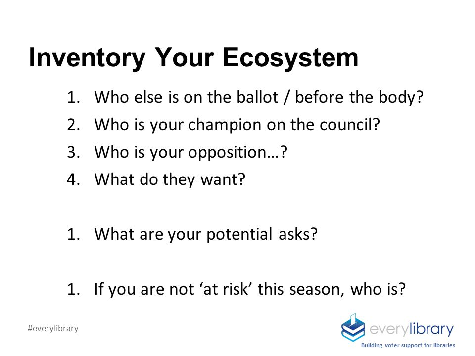 Inventory Your Ecosystem 1.Who else is on the ballot / before the body.
