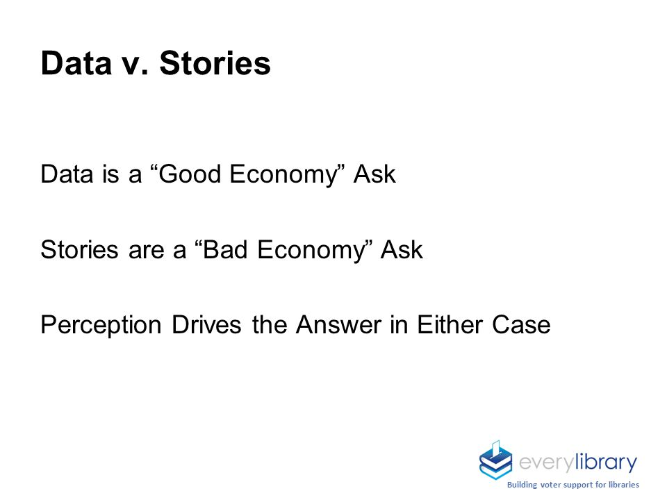 Data is a Good Economy Ask Stories are a Bad Economy Ask Perception Drives the Answer in Either Case Data v.