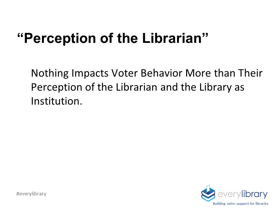 Perception of the Librarian Nothing Impacts Voter Behavior More than Their Perception of the Librarian and the Library as Institution.