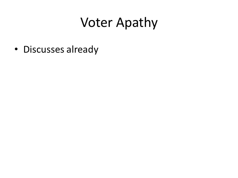 Voter Apathy Discusses already