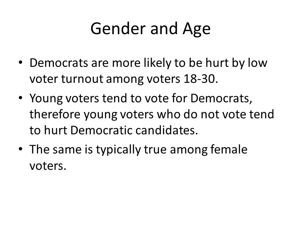 Gender and Age Democrats are more likely to be hurt by low voter turnout among voters 18-30.