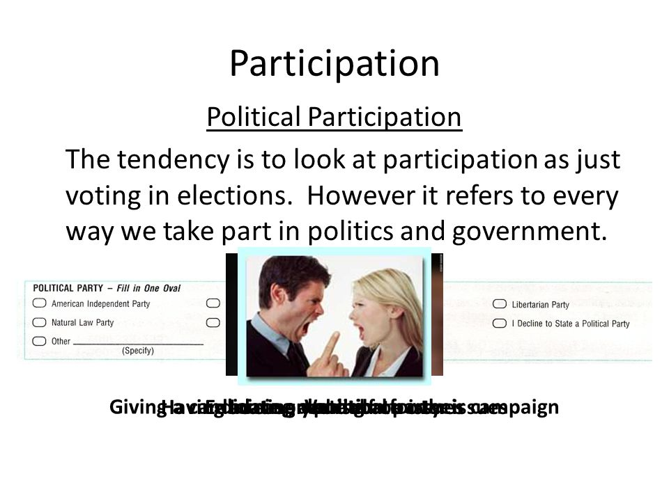 Participation Political Participation The tendency is to look at participation as just voting in elections.