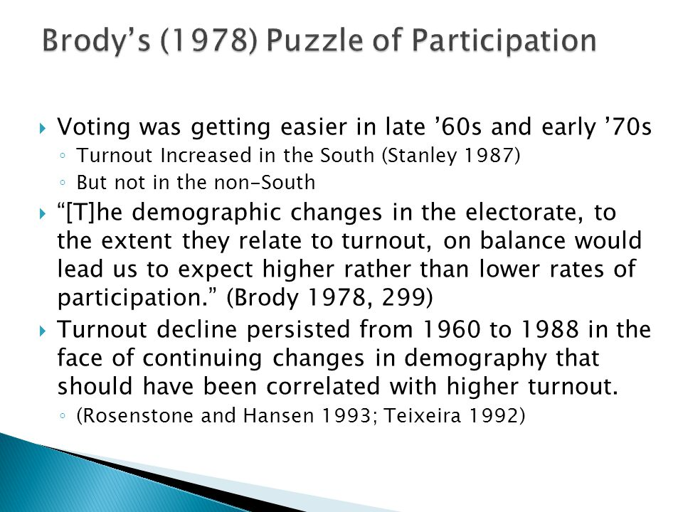  Voting was getting easier in late '60s and early '70s ◦ Turnout Increased in the South (Stanley 1987) ◦ But not in the non-South  [T]he demographic changes in the electorate, to the extent they relate to turnout, on balance would lead us to expect higher rather than lower rates of participation. (Brody 1978, 299)  Turnout decline persisted from 1960 to 1988 in the face of continuing changes in demography that should have been correlated with higher turnout.