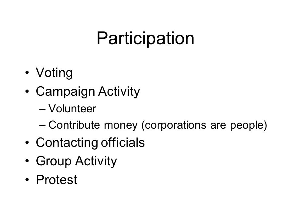 Participation What trends in each mode? How does US compare? Which mode has greatest effect?