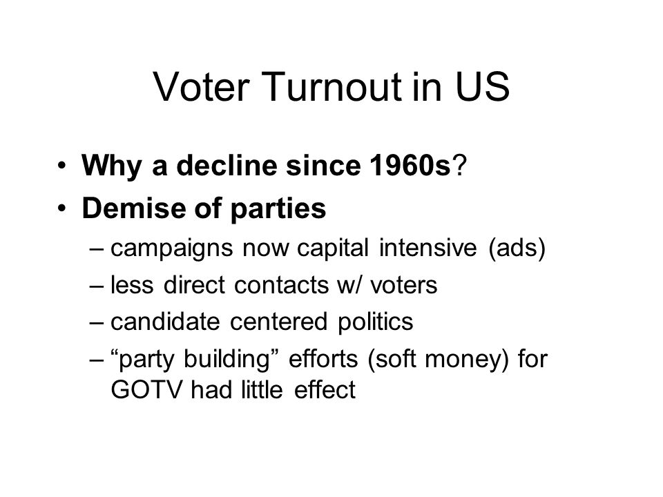 Voter Turnout in US Why a decline since 1960s.