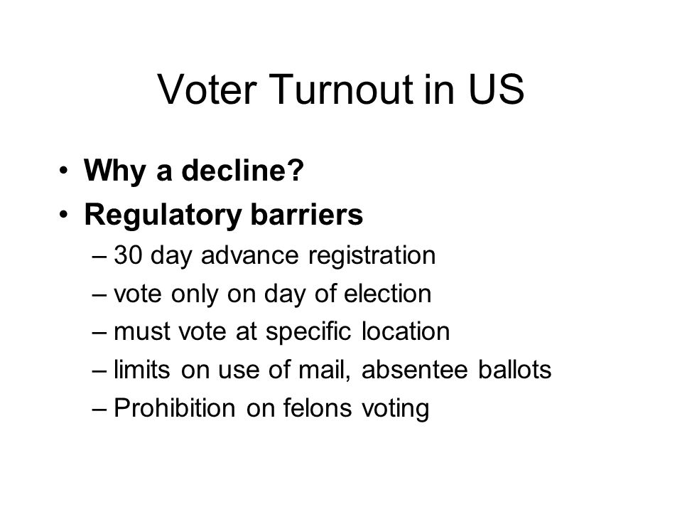 Voter Turnout in US Why a decline.