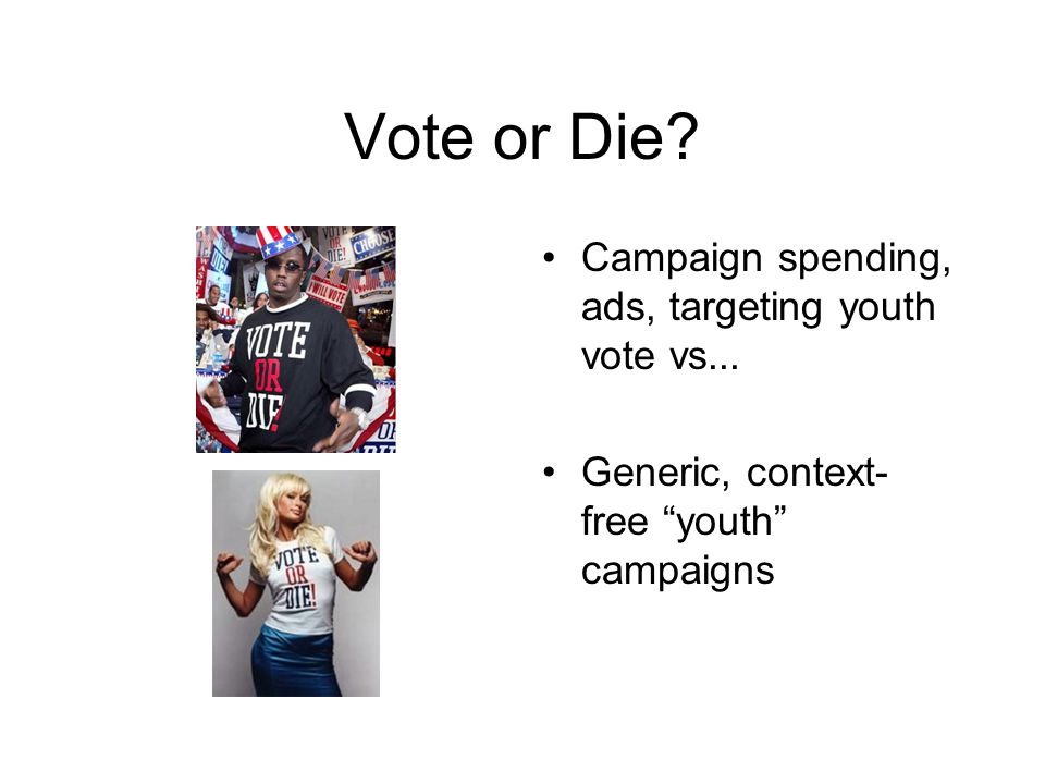 Vote or Die. Campaign spending, ads, targeting youth vote vs...