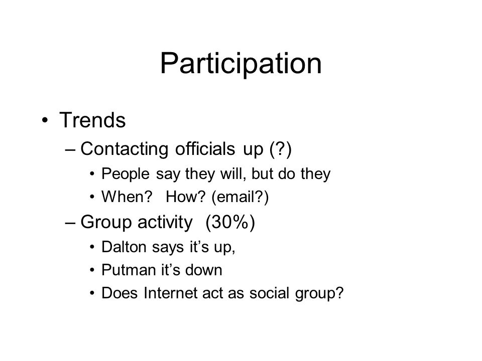 Participation Trends –Contacting officials up ( ) People say they will, but do they When.