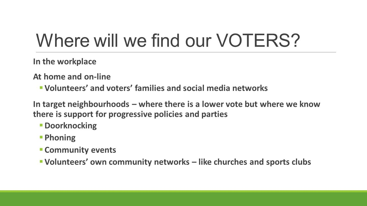 Where will we find our VOTERS? In the workplace At home and on-line  Volunteers' and voters' families and social media networks In target neighbourho