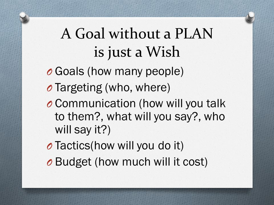 A Goal without a PLAN is just a Wish O Goals (how many people) O Targeting (who, where) O Communication (how will you talk to them?, what will you say