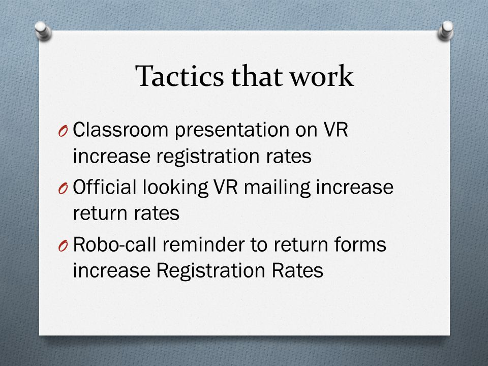 Tactics that work O Classroom presentation on VR increase registration rates O Official looking VR mailing increase return rates O Robo-call reminder
